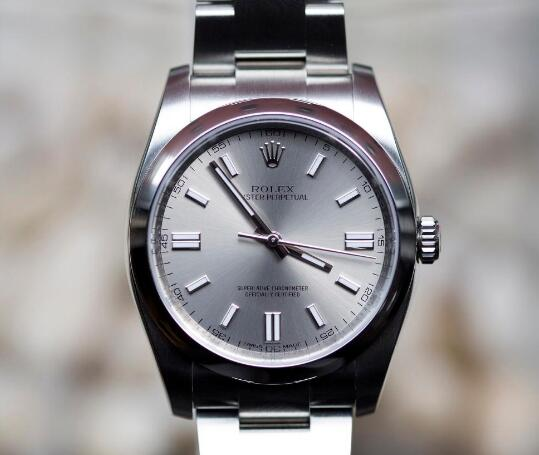 The gray dial Oyster Perpetual timepiece is cheap and with high performance.