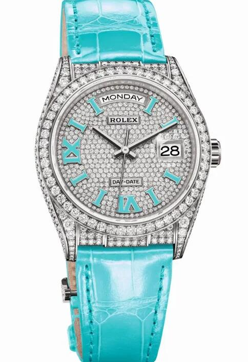 Swiss fake watches keep evident charm with turquoise color.